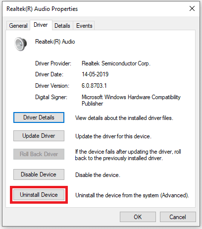 Reinstall the audio drivers 3