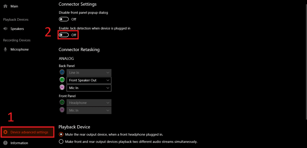 Turn off device plug-in detection 2