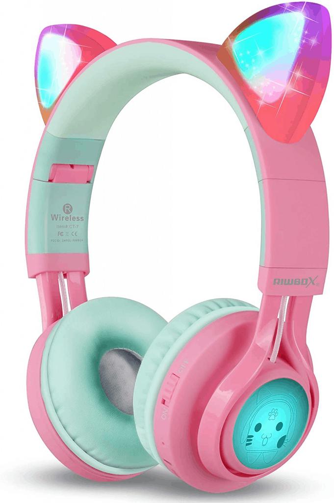 Riwbox kids' wireless cat ear headphone