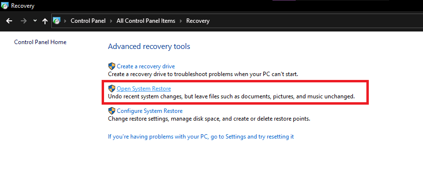 Reset Windows 10 or use system restore 2